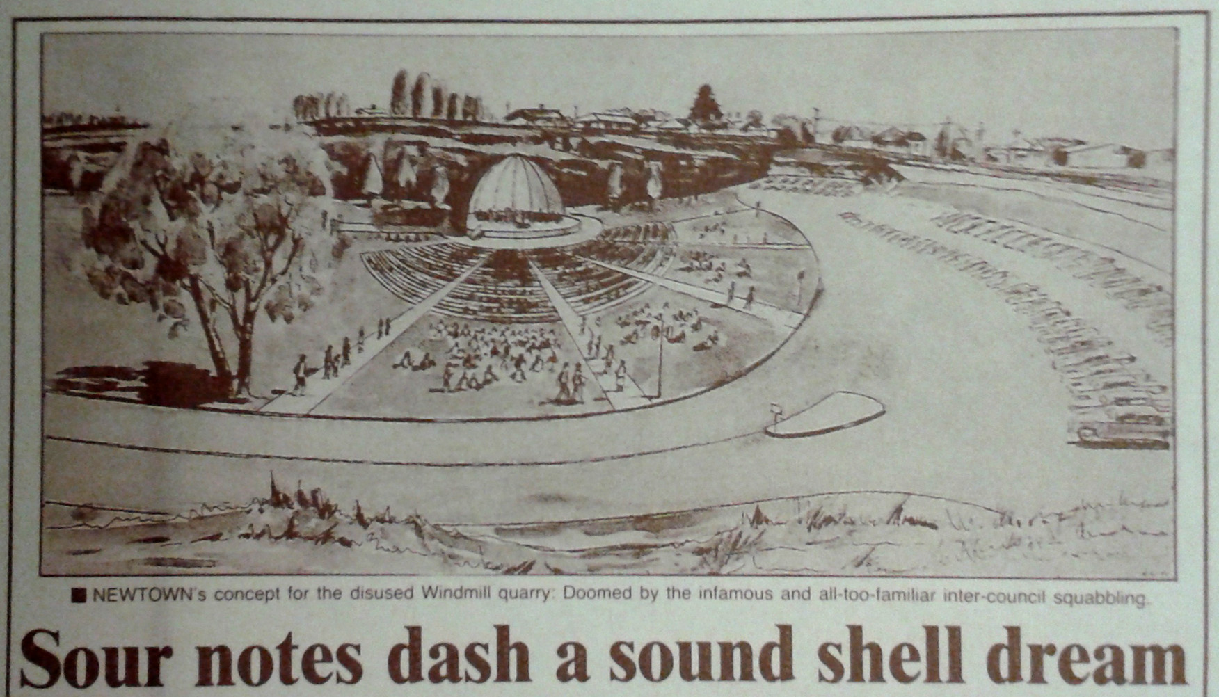1961 proposed Sound Shell in Newtown