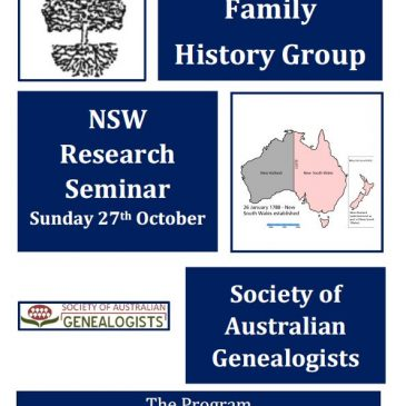 Family History Seminar – still some vacancies – Sunday 27th October 2019